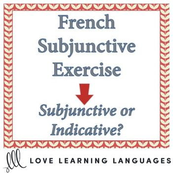This is a 40 question exercise on the French subjunctive. In this exercise students must indicate whether they should use the subjunctive or the indicative before filling in the blanks with the correct form of the verb in parentheses.