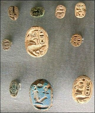 Reverse sides or bottom of scarabs.
