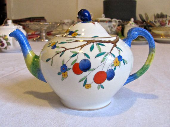 Art Deco Plant Tuscan China Teapot by VictorianAndVintage on Etsy, £35.00