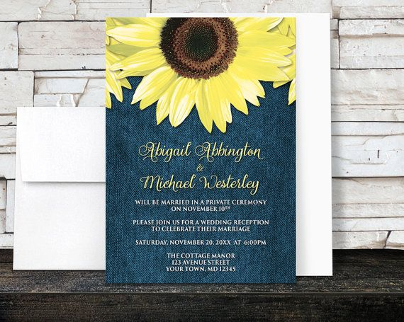 Floral Southern country Wedding Reception Only Invitations (Post Wedding invitations) and optional matching RSVP reply cards, designed designed with yellow sunflowers over a blue denim fabric pattern illustration. The RSVP cards have a white background, so your guests can fill them out with ease. These invitations are used when the couple has a destination wedding or a small private ceremony, and only invite their guests to the post wedding, reception celebration.