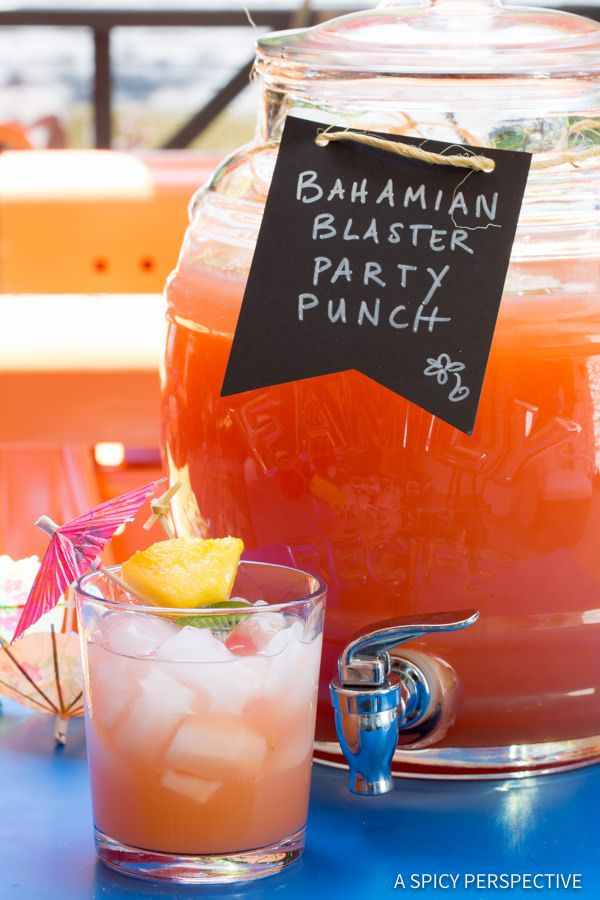 5-Minute Bahamian Blaster Party Punch - Large Batch Summer Cocktail Recipe!   ASpicyPerspective.com