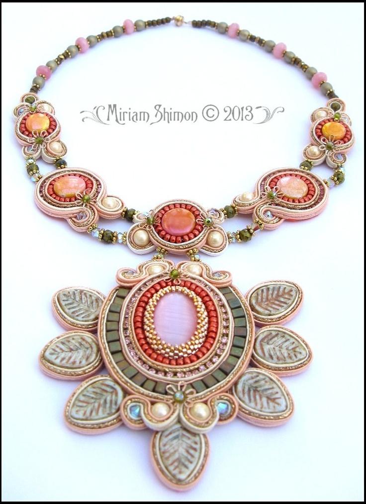 Soutache pendant necklace in Salmon, Olive, Gold and Cream. $225.00, via Etsy.