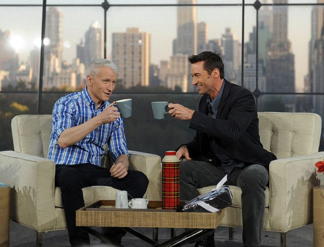 Anderson Cooper and Hugh Jackman sharing a cup of joe #coffee
