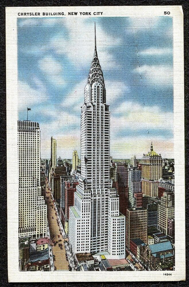 Vintage Linen Postcards Chrysler Building New York City