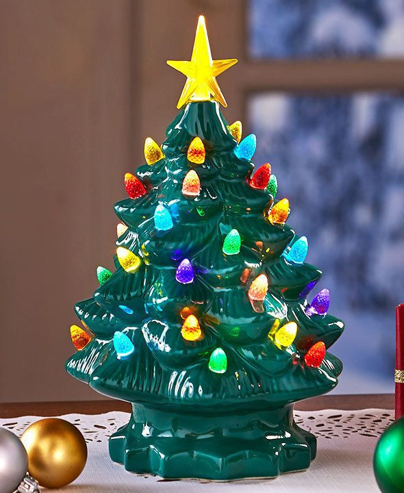 Details about Retro Lighted Tabletop Ceramic Christmas Tree Star