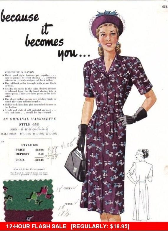 Vintage Maisonette Fabric Swatch 1940s Advert For Fashion Etsy In 2020 Fashion Fabric Fashion Vintage Dress Patterns