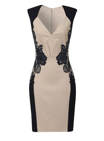 Cream and navy lace dress - Going Out & Occasion - Dresses - Vennie Fashion Online
