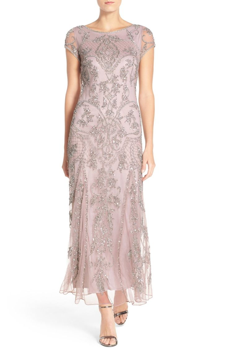 mother of the bride or groom mothers dresses for weddings Silver and dusty pink beaded dress Beaded Mother of the Bride Gown