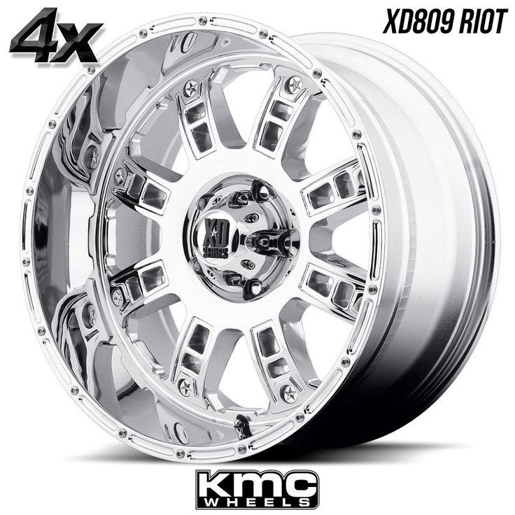 "4 KMC XD809 Riot 20""x10"" 5x150 Chrome OFST:-24mm 20 Inch Rims 20X10 Wheels"