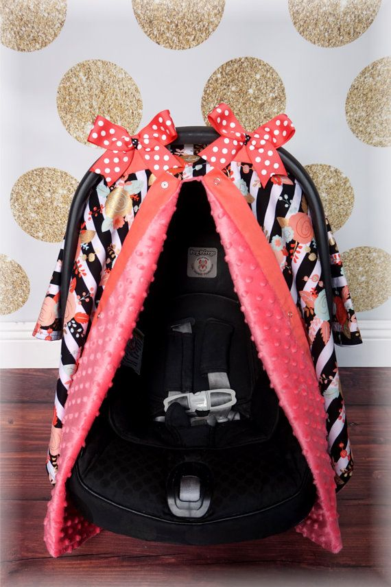 Black and White Stripe Gold Floral Coral Minky Carseat Canopy - The Canopy Shoppe, Baby Car Seat Cover, Infant Carrier