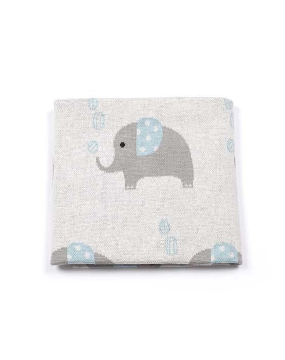 Ellie Elephant Marine Blue Baby Blanket by Indus Design Newborn Gift - Ivaleegifts