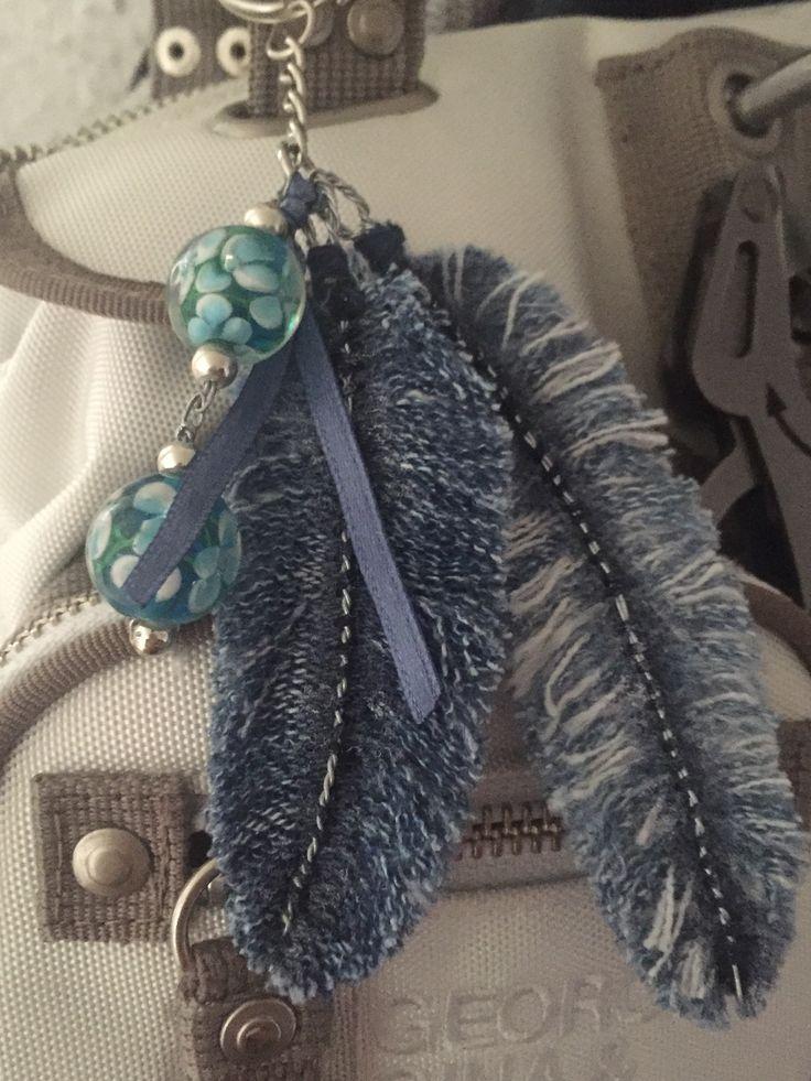 Feder Jeans Taschen Schlüsselanhänger DIY