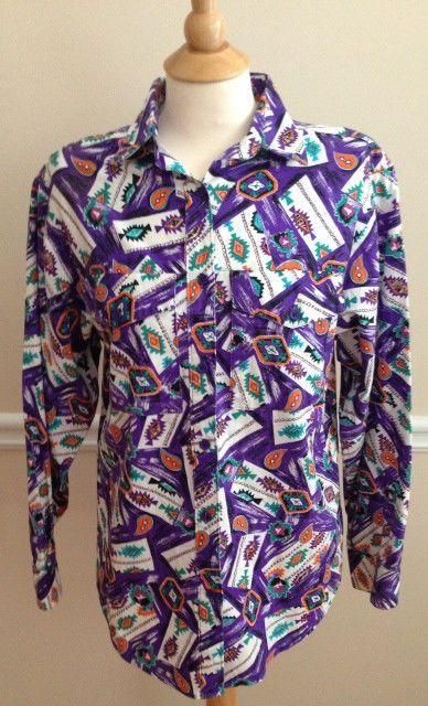 Wrangler Authentic Western Apparel shirt MEDIUM rodeo cowgirl purple LOUD  #Wrangler #ButtonDownShirt #Casual