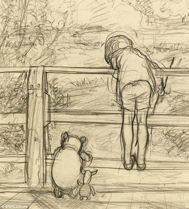 """Poohsticks"", original drawing, E.H Shepard."