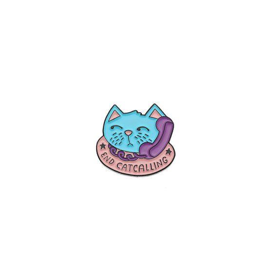 Einde Catcalling glazuur Pin met koppeling terug / / revers spelden, feminisme / / EP061