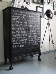 DIY: Ein Schrank mit Tafellack / a chalkboard cabinet   kirsi-puutaloelamaa.blogspot.de via stylinrooms.de