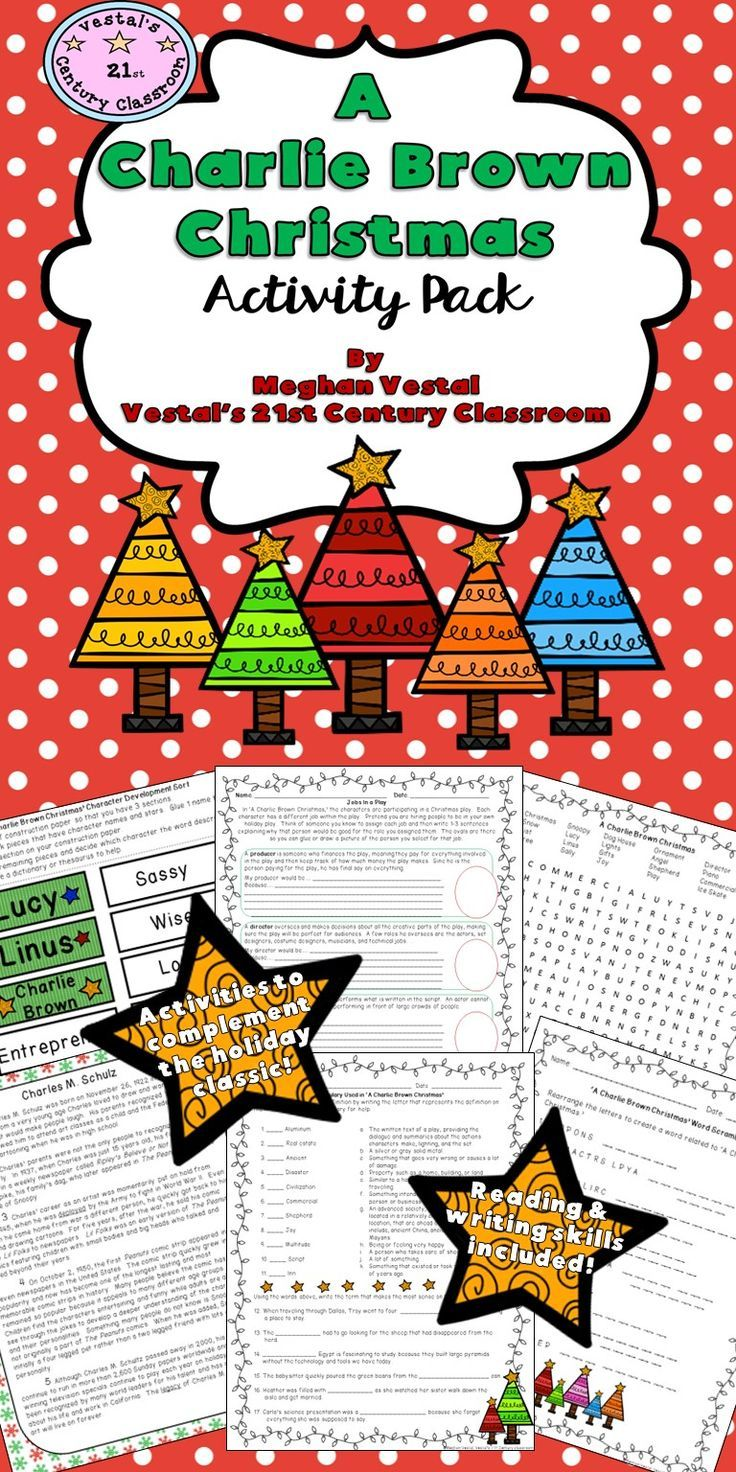 charlie brown christmas writing activity for 1st