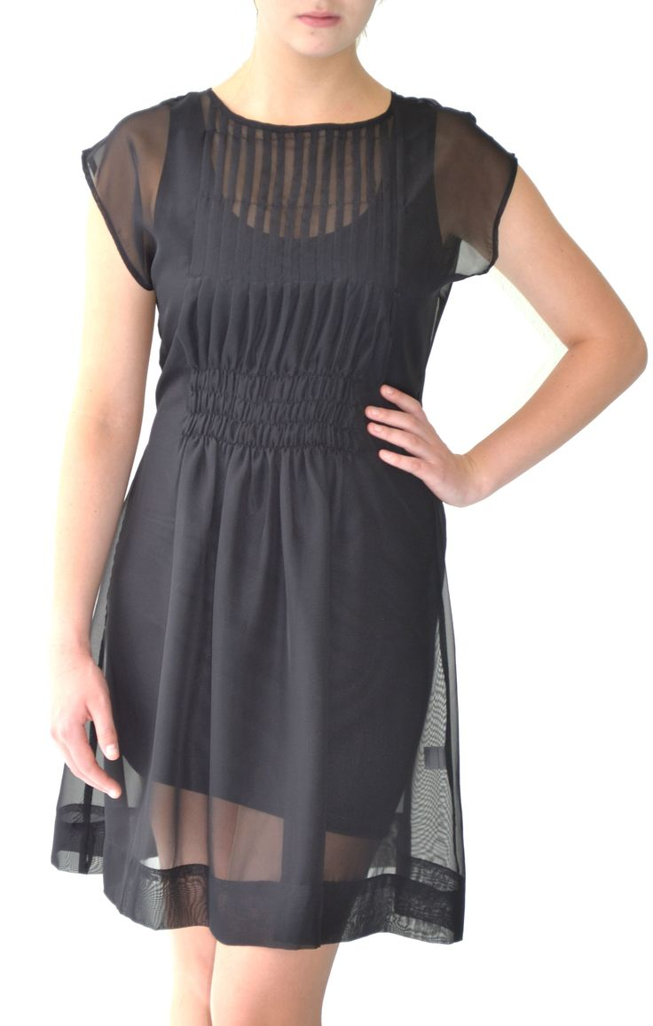 black chiffon pleat dress #dress #Marden #pleat #LBD #fashion
