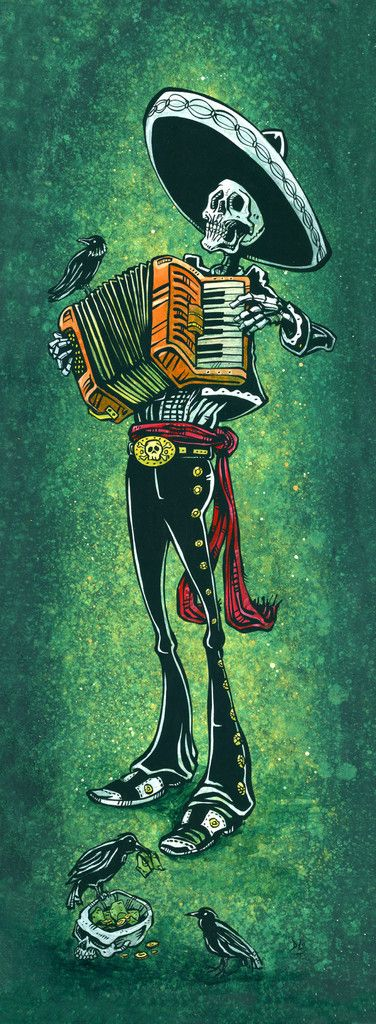 The mariachi plays his squeezebox for an unkindness of ravens while they ruthlessly steal his tips. Painting ProcessThe 8 x...