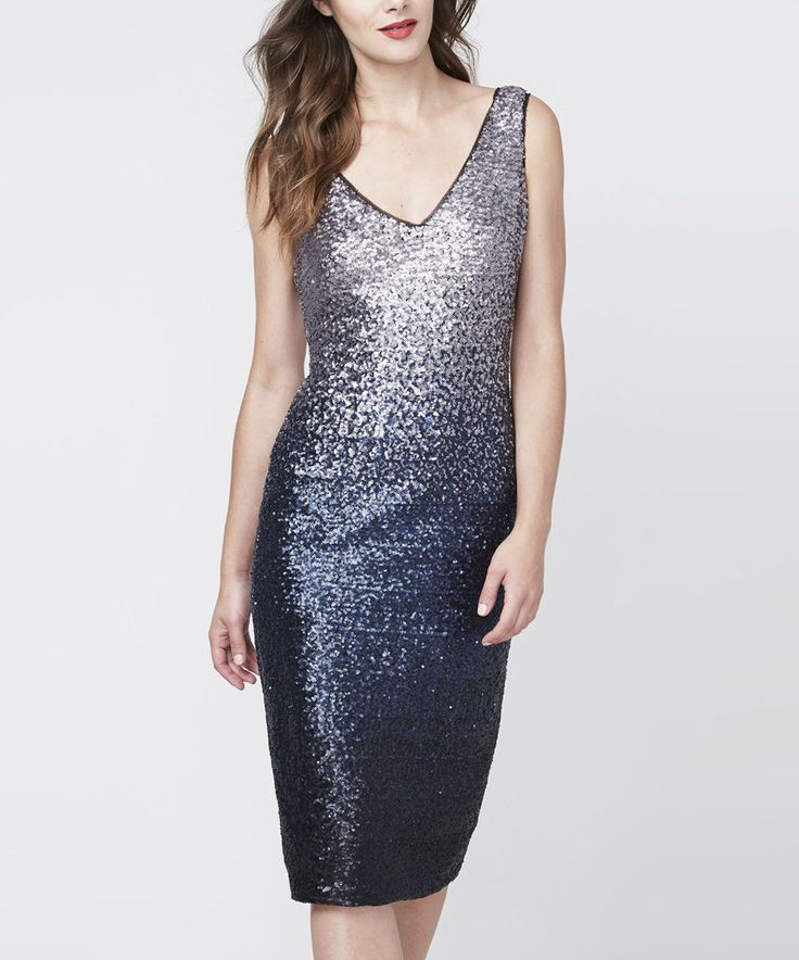 Take a look at this RACHEL Rachel Roy Slate Blue Ombré Sequin Midi Dress today!
