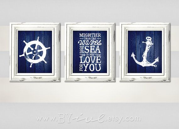 Nursery Nautical theme, Ship wheel, Psalm 93:4, Anchor, Sailor Theme, Navy blue, Like Wood Texture, Beach Decor, Download Immediately