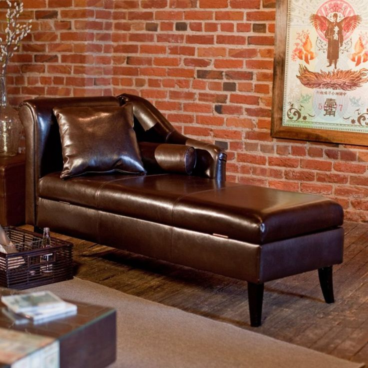 Living Room With Brick Walls And Leather Fainting Couch : Timeless And Elegant Fainting Couches