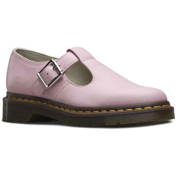 Dr. Martens Polley Mary Jane (£81) ❤ liked on Polyvore featuring shoes, bubblegum pink, mary-jane shoes, t bar shoes, dr martens mary janes, pink shoes and dr martens shoes