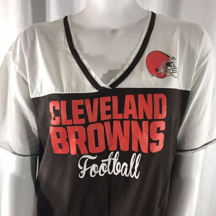 Cleveland Browns Football Womens 1X V-neck T-shirt NFL Team Apparel Brown White  | eBay