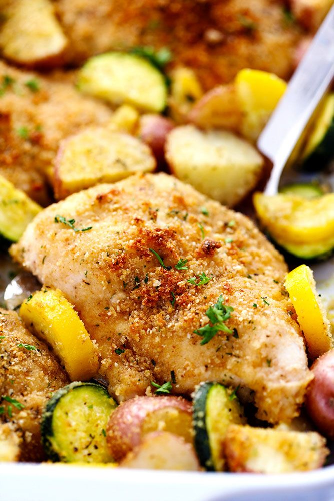 One Pan Crispy Parmesan Garlic Chicken with Vegetables 3