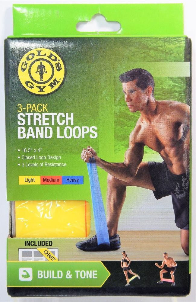 Gold's Gym Stretch Band Loops 3 Pack Rubber Resistance Fitness Build Tone NEW #GoldsGym