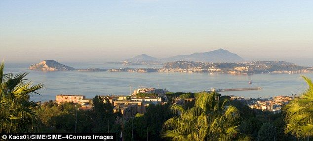 Campi Flegrei caldera in Naples, Italy-- this is the view across the Gulf of Pozzuoli, located above a fair extent of the volcano's magma chamber.