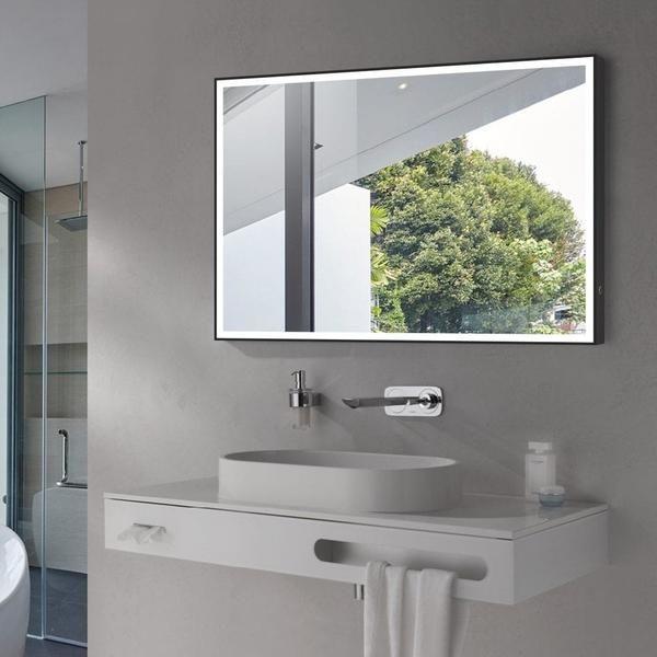 Flat Led Vanity Mirror 60 Aluminum Matt Black Square Modern Wall Mount Mirror Led Mirror Bathroom Vanity Mirror