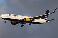 Icelandair Boeing 767-319(ER)(WL) TF-ISO aircraft, named ''Hlodufell-a tuya volcano'', on short finals to Iceland Keflavik International Airport. 28/10/2016.