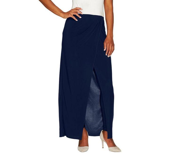 Attitudes Renee Charming Jersey Knit Sarong Skirt Leggings Navy L A264270