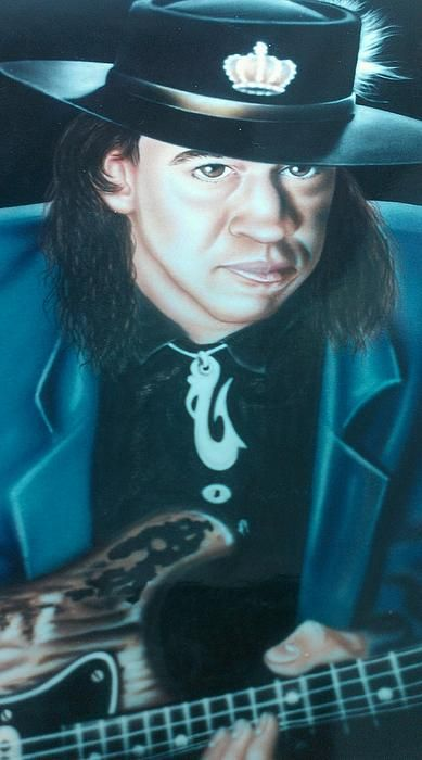 """""""Stevie Ray Vaughn"""" acrylic on canvas painting by Darren Robinson.  Prints and greeting cards available."""