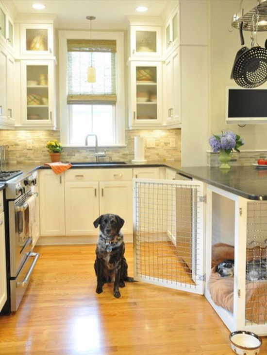 built in dog beds - double-sided two-dog bed with wire mesh sides below kitchen peninsula - Betsy Bassett Interiors via Atticmag