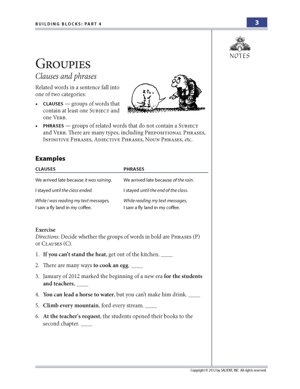 Printables Clauses And Phrases Worksheets 1000 images about clauses and phrases on pinterest language these print ready worksheets are from building blocks part this of the series teaches basic distinct