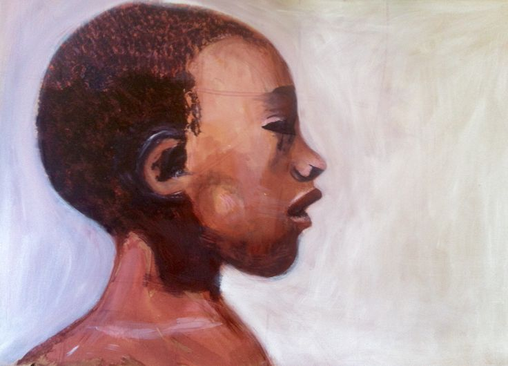 Acrylic painting of a african girls face.