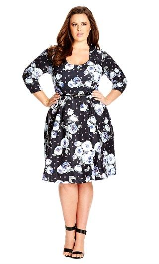 City Chic VINTAGE FLORAL DRESS- City Chic Your Leading Plus Size Fashion Destination #citychic #citychiconline #newarrivals #plussize #plusfashion