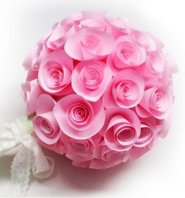 Easy paper rosette wedding bouquet or topiary (spring decor) // Esküvői papír rózsa (dobó) csokor vagy tavaszi dekoráció papírból // Mindy - craft tutorial collection