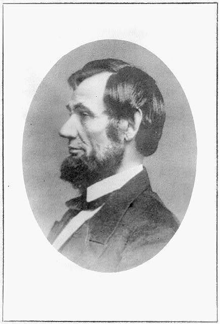 Unusual profile photograph of President Abraham Lincoln (c. 1861).