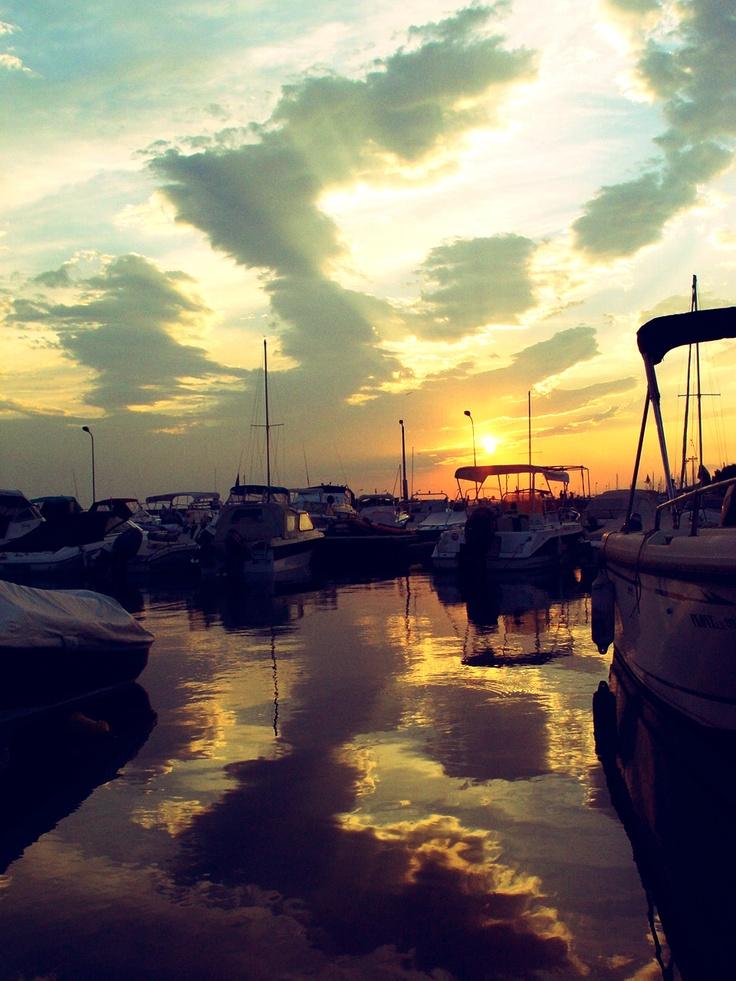 Sunset in marina, Glyfada, Athens, Greece