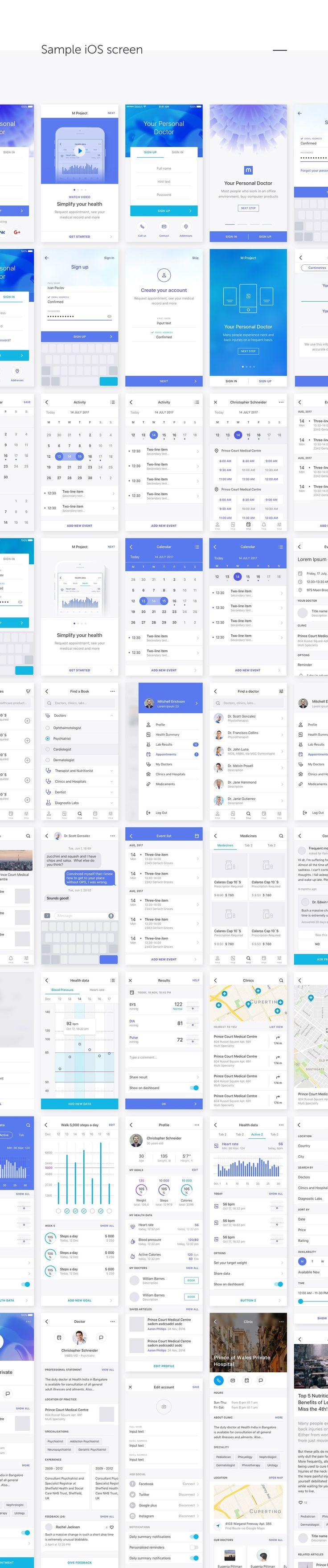 Medical & Healthcare iOS UI Kit on Behance