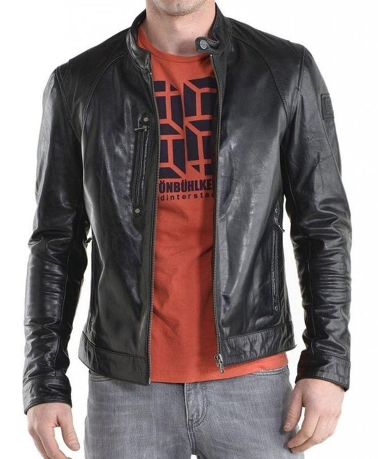 Mens Original Biker Leather Motorcycle Jacket Lambskin Genuine Zipper Coat SZ54 #Handmade #Motorcycle