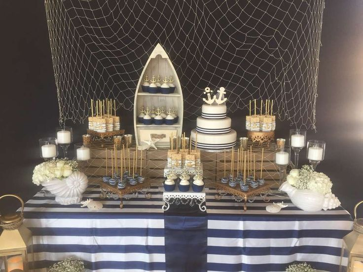 What a stunning nautical wedding party! See more party planning ideas at CatchMyParty.com!