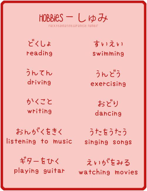 Hobbies in Japanese which is yours ?