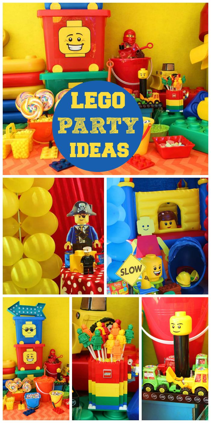 A Lego Boy Birthday Party In Bright Colors With Fun Decorations And Party Treats See