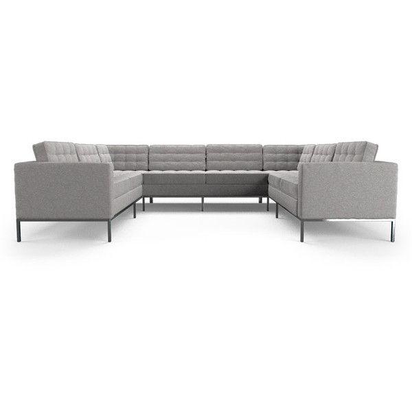 Joybird Furniture Franklin Mid Century Modern Gray U-Sofa Sectional (5... ($6,599) ❤ liked on Polyvore featuring home, furniture, sofas, grey, sectional sofas, tufted sectional, grey tufted sofa, gray tufted couch, grey sectional and grey furniture