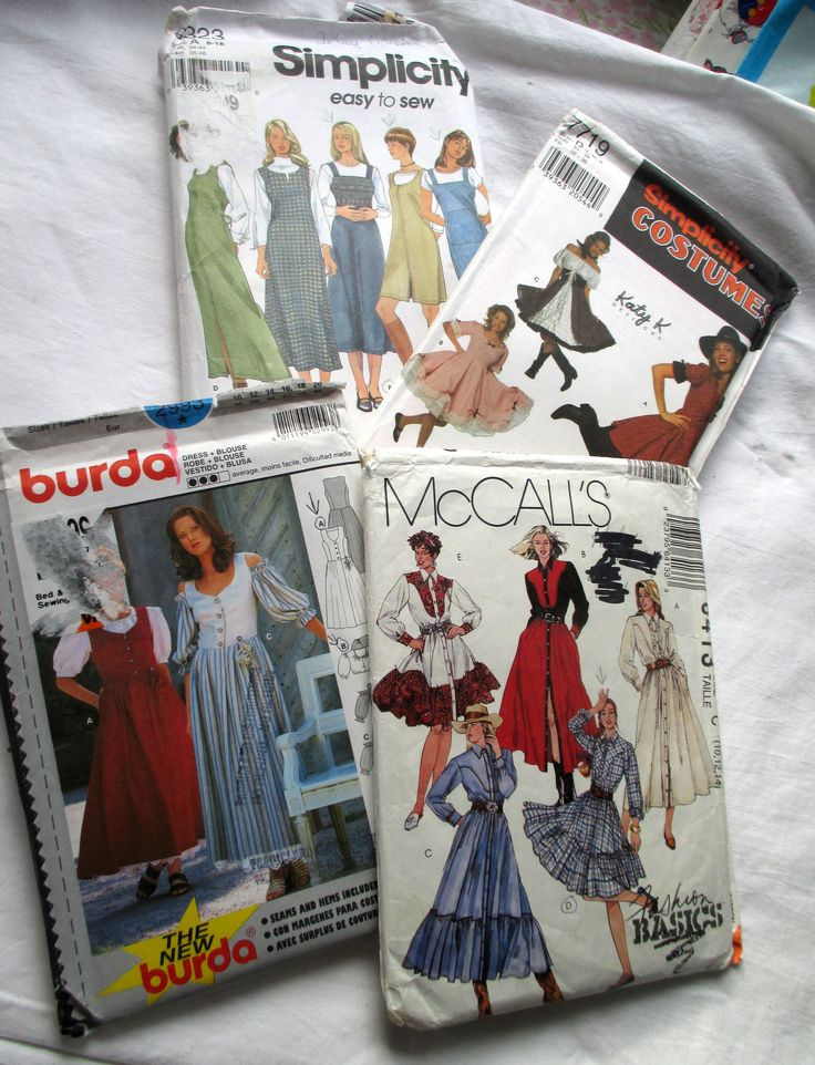 Vintage Patterns, McCalls 6413, Burda 2993, Simplicity 9323, Simplicity 7719, Katy K, Cowgirl Costume, Square Dance Costume, Cowgirl Pattern by MyGrandmothersHouse on Etsy