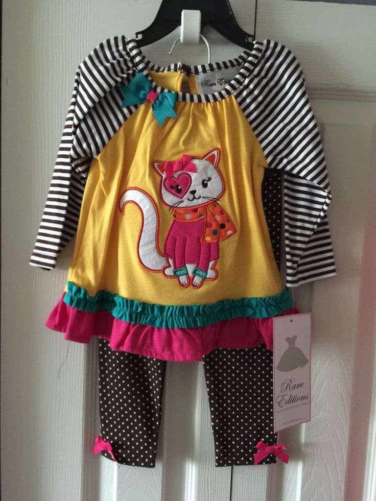 RARE Editions Girls 12 Months Spring Pants Outfit Ruffle Legs Yellow Brown Cat | eBay